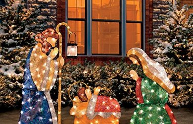 Shimmering Outdoor Lighted Nativity Scene - Outdoor Christmas Nativity Sets