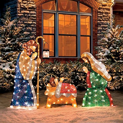 Outdoor christmas nativity sets absolute christmas shimmering outdoor lighted nativity scene workwithnaturefo