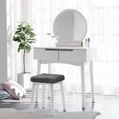 Vanity Set with Stool and Mirror