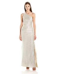 laundry BY SHELLI SEGAL One Shoulder Silver Gown