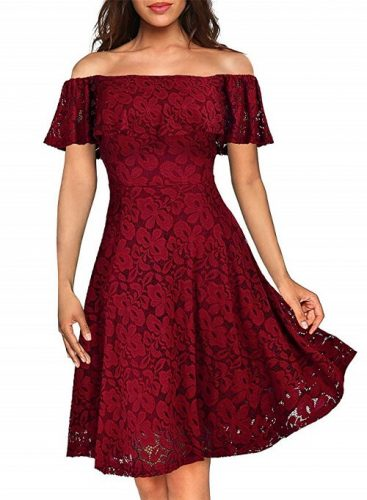 Vintage Lace Cocktail Dress in Red