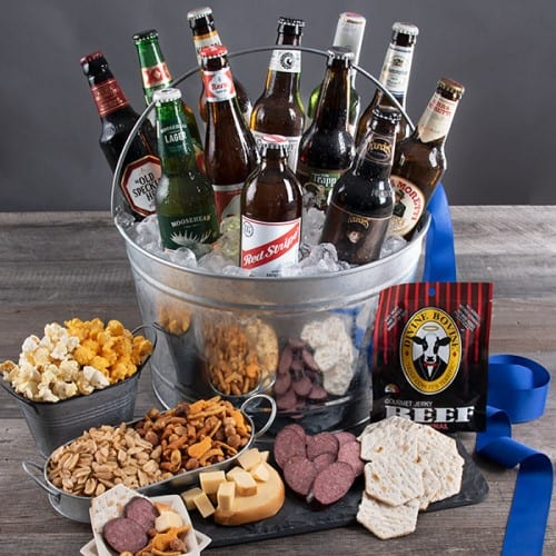 Around The World Beer Bucket Gift Basket