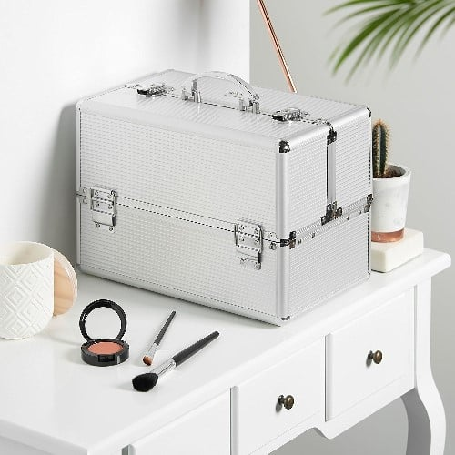 Large Silver Makeup Cosmetic Organizer Train Case