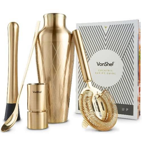 Premium Gold Etched Parisian Cocktail Shaker Barware Set