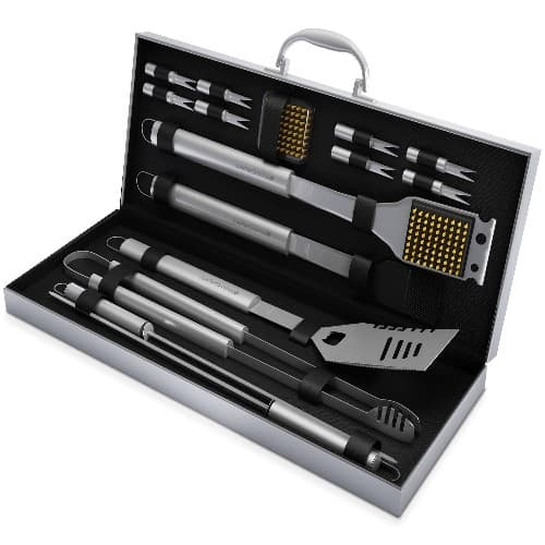 Stainless Steel BBQ Grill Tools Set with 16 Barbecue Accessories
