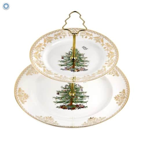 Christmas Tree Gold Tiered Stand