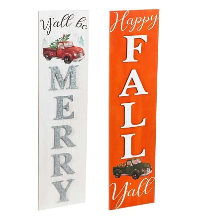 Double-Sided Fall Holiday Wooden Porch Leaner Sign