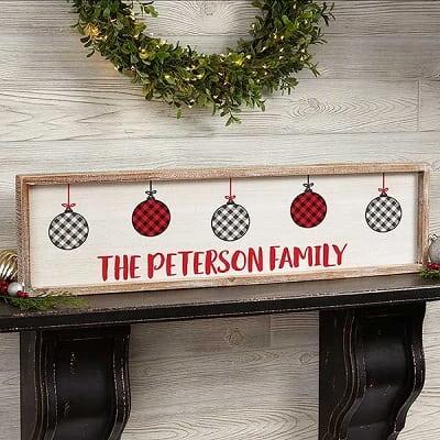 Farmhouse Christmas Personalized Barnwood Frame Wall Art