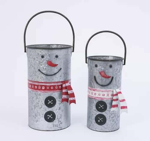 Galvanized Snowman 2 Piece Metal Bucket Set