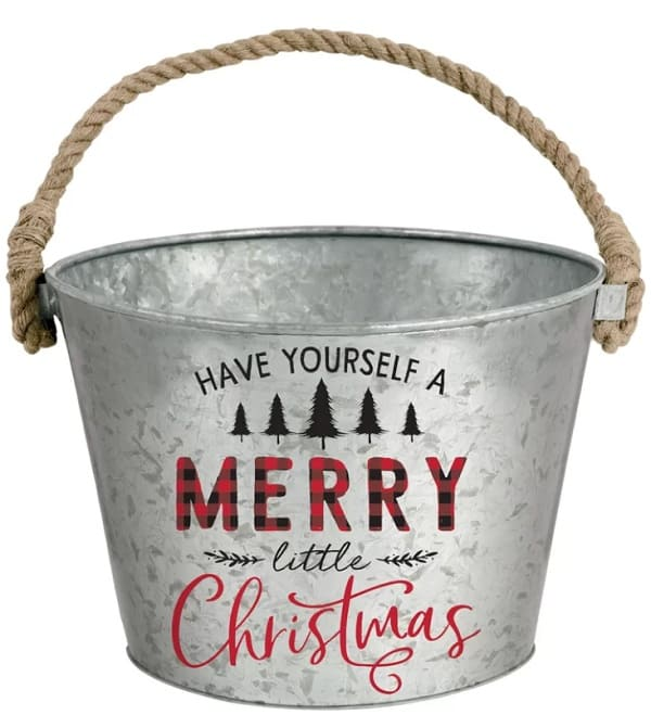 Have Yourself a Merry Little Christmas Metal Bucket Farmhouse Style