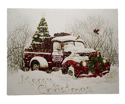 LED Lighted Merry Christmas Pepsi-Cola Delivery Truck Canvas Wall Art