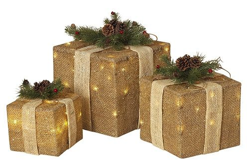 LED Lighted Christmas Gift Boxes made from burlap - Great Farmhouse Christmas Decor for indoors or outdoor