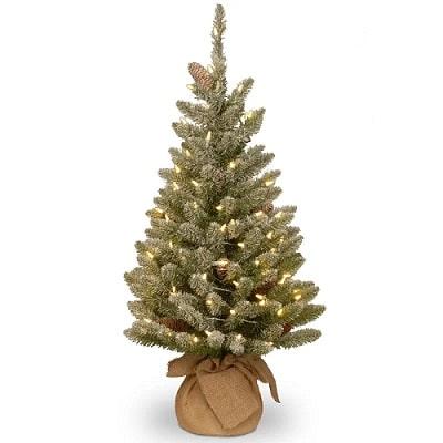 Mini Christmas Tree in Burlap