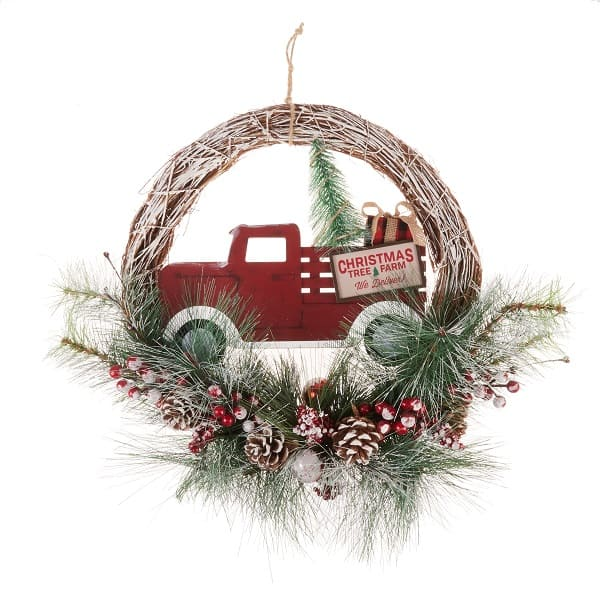 Red and Green Tree Farm Christmas Wreath