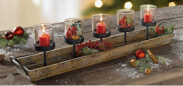 Rustic Wood Candle Centerpiece Tray