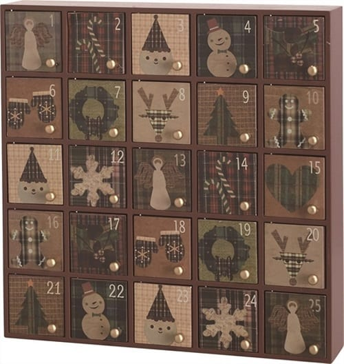 Rustic Wooden Advent Calendar with 25 doors in brown, green and grey tones- Farmhouse Christmas Decorations