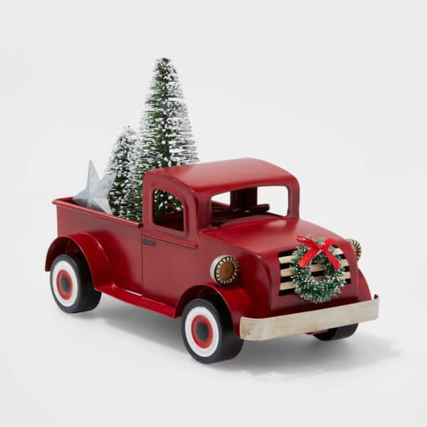 Small Truck with Christmas Tree Decoration in Red