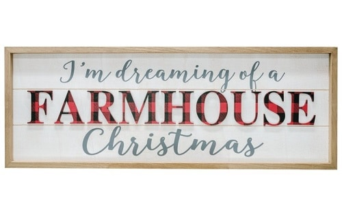 Check Farmhouse Christmas Sign