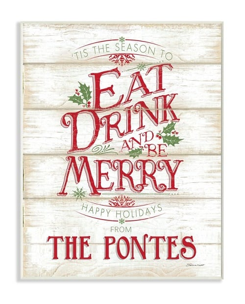 Eat Drink Be Merry Holiday Sign - Christmas Signs