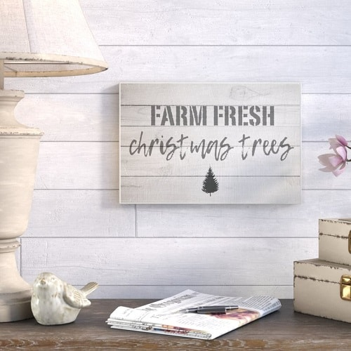 Farm Fresh Christmas Trees Vintage Sign Made From Wrapped Canvas #christmassigns