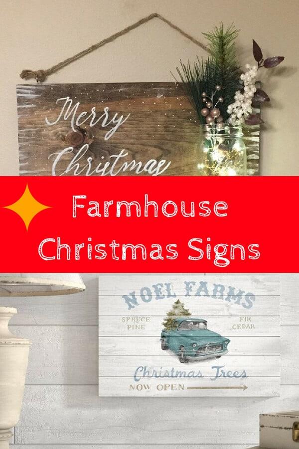 Farmhouse Christmas Signs - Rustic Farmhouse Themed Christmas Signs