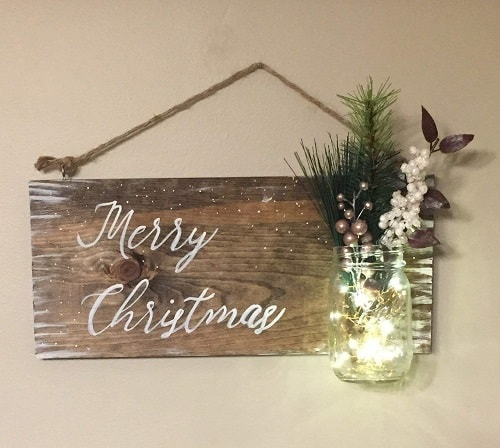 Snowy Christmas Wood Sign with Mason Jar - Farmhouse Christmas Signs