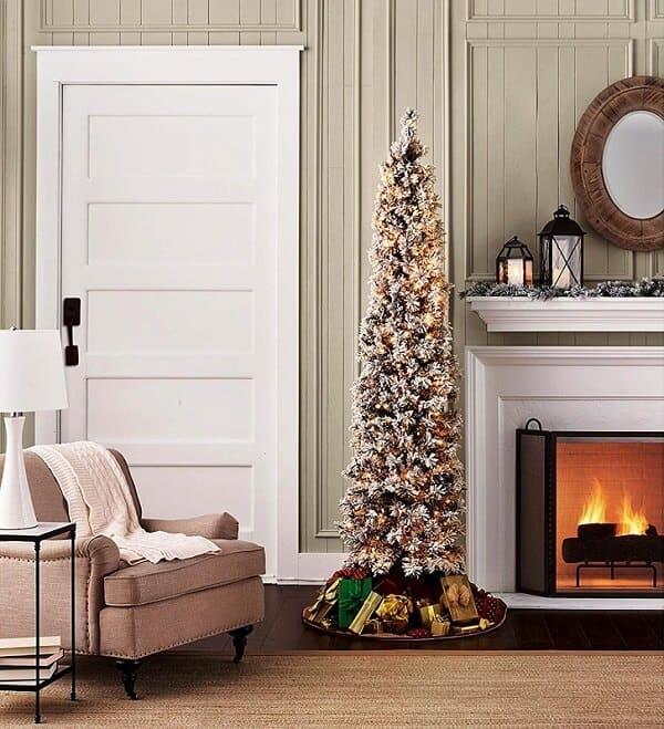 7 ft Flocked Slim Christmas Tree