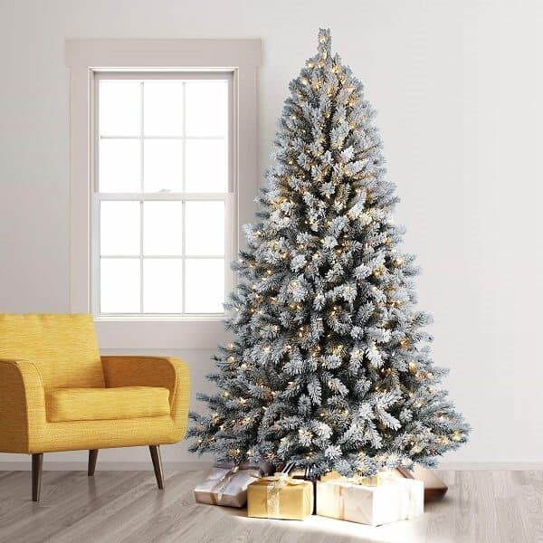 7 ft Lightly Flocked Christmas Tree with Clear Lights