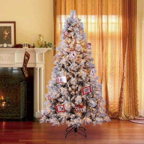 7.5 Ft Snowdrift Spruce Christmas Tree with Lights | Hallmark 7.5-Foot Northern Estate White Clear Pre-Lit Christmas Tree