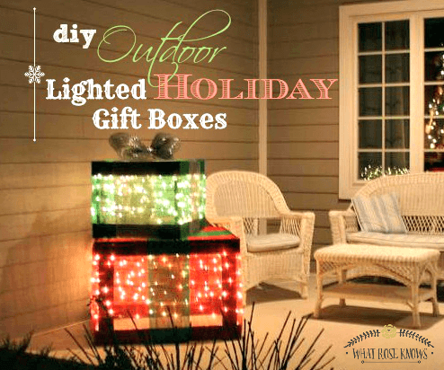 DIY Outdoor Lighted Gift Boxes