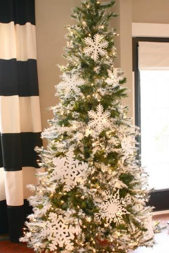 Flocked Christmas Tree with Large Snowflakes
