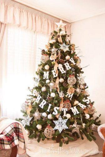 Neutral Rustic Christmas Tree Idea