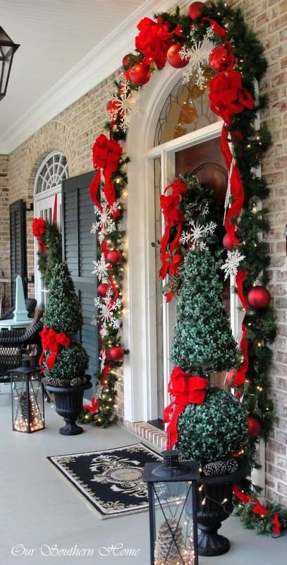 Red Christmas Front Porch Decor With Red Ribbons, Ornaments and Snowflakes