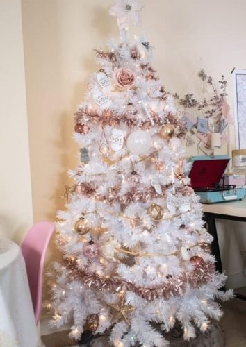 White Christmas Tree with Rose Gold Decorations