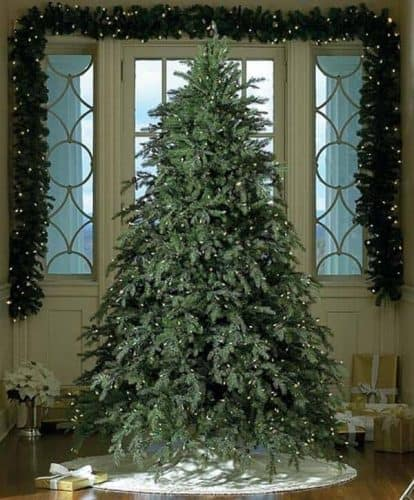 9ft Pre-Lit Down-swept Hunter Fir Full Artificial Christmas Tree with Clear Lights