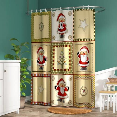 Americana Holiday Shower Curtain | Christmas Bathroom Decorations