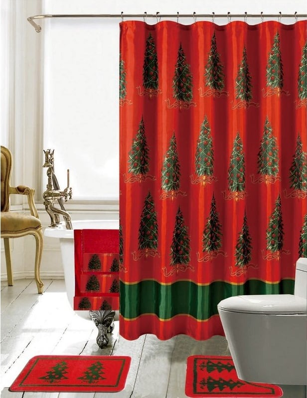Christmas Bathroom Decorations Set with Shower Curtain