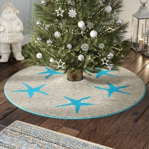 Coastal Christmas Tree Skirt | Jute Christmas Tree Skirt with Vibrant Blue Starfish Decor