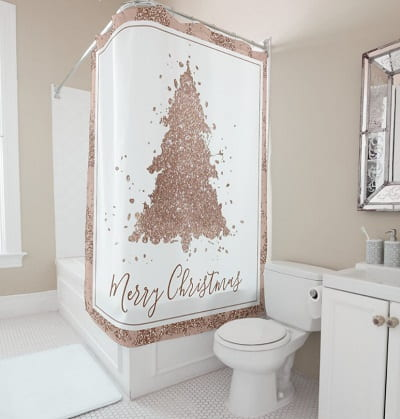 Glam Rose Gold Christmas Shower Curtain