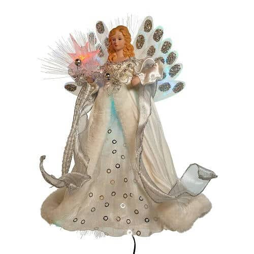 LED Fiber Optic Angel Tree Topper in Silver and White