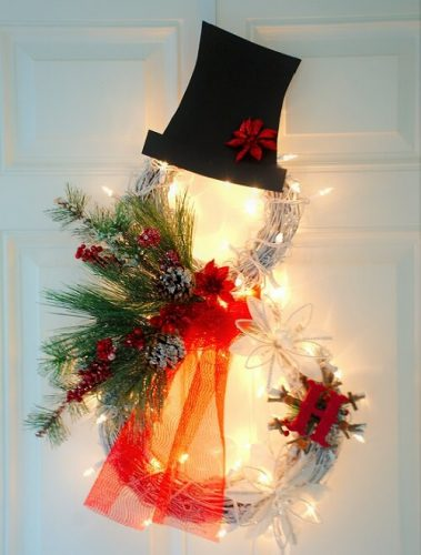 Lighted Snowman Grapevine Wreath