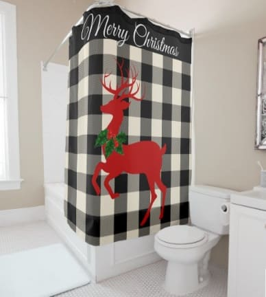 Merry Christmas Buck Deer Buffalo Plaid Holiday Shower Curtain