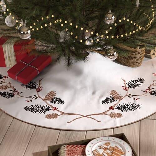 Natural Pines Embroidered Christmas Tree Skirt