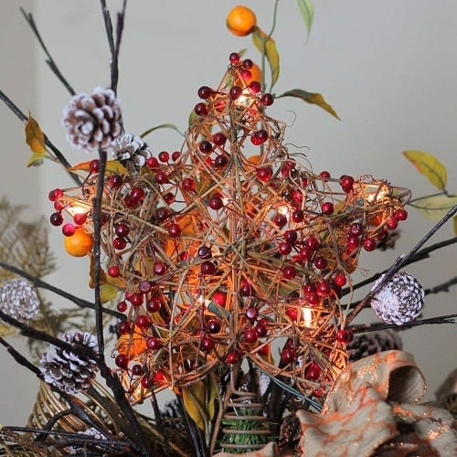 Rattan Christmas Tree Topper with Red Berries and Clear Lights