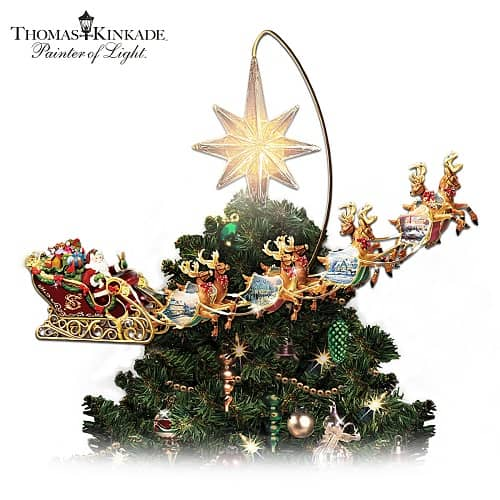 Thomas Kinkade Illuminated Animated Santa Claus Tree Topper
