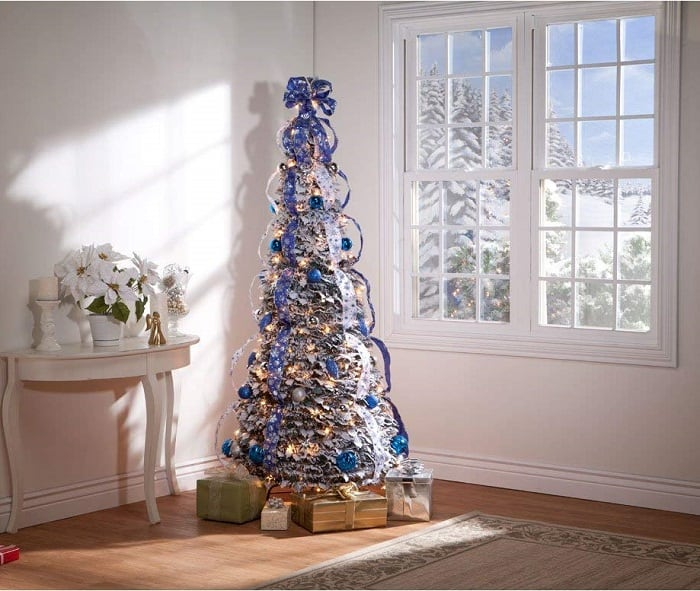 6 ft Snow Frosted Spruce Prelit Pull Up Christmas Tree