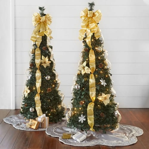 4ft. Lighted Holiday Poinsettia Pull-Up Christmas Tree