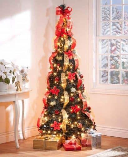 6 ft Christmas Spruce Prelit Poinsettia Pull Up Tree - Pop Up Christmas Tree Decorated