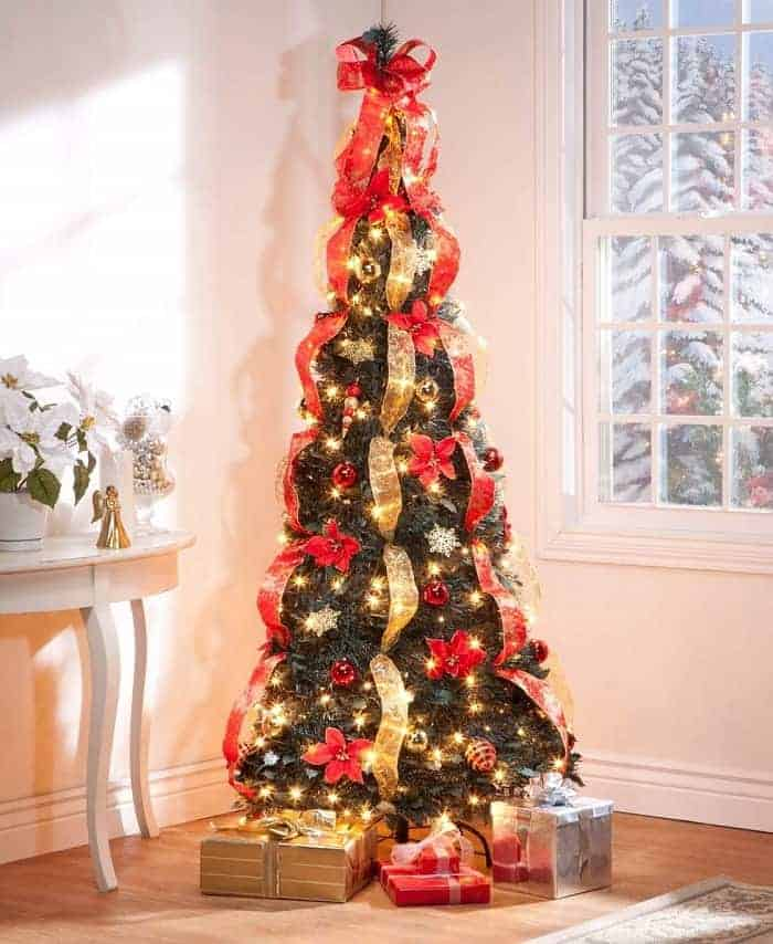 6 ft christmas spruce prelit poinsettia pull up tree pop up christmas trees decorated