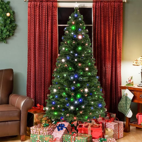 7ft Pre-Lit Fiber Optic Artificial Christmas Pine Tree with 280 4-Color LED Lights, 8 Sequences, Foldable Stand, Green